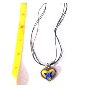 Cookie Lee Blue Yellow Silver Butterfly Necklace